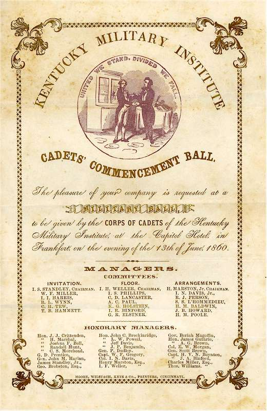 1860 Military Commencement Ball Invitation